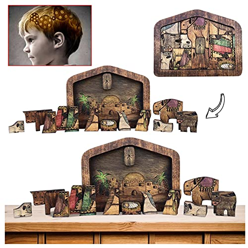 Nativity Puzzle with Wood Burned Design, Wooden Jesus Puzzles Nativity Set DIY Puzzle Challenging Puzzle Game for Kids Adults for Home Educational Wooden Puzzles (C)