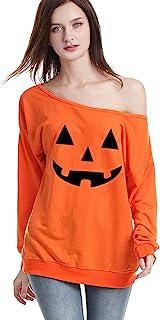 Ugitopi Disfraz de Halloween para mujer, suelto, sudadera, blusa, parte superior
