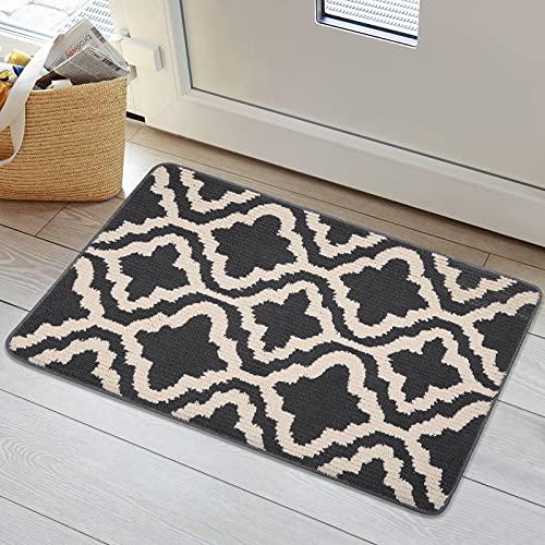 Homaxy Fußmatte innen 50x80cm, Waschbar Schmutzfangmatte Fussmatte rutschfeste Sauberlaufmatte Türmatte Fußabstreifer für Eingangsbereich, Haustür, innen und außen — Schwarz