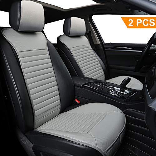 Car Seat Cushion 2 Pack, Big Ant Sleek Design Full Size Breathable Universal Four Seasons Interior Front or Back Seat Covers for Auto Supplies Office Chair with PU Leather(Gray)