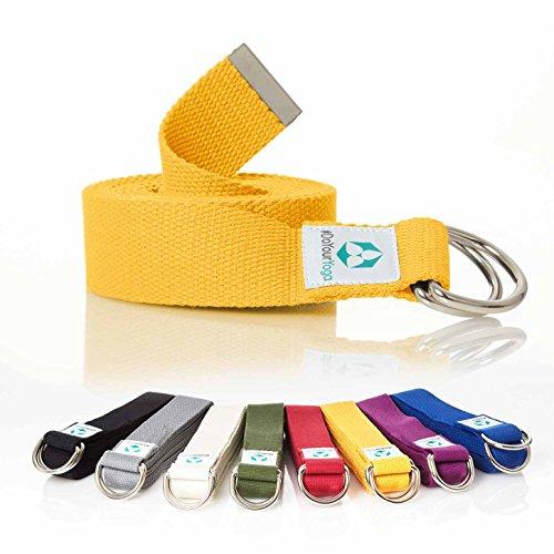 #DoYourYoga Yogagurt »Madira« / Yoga-Belt Gurt 100{e124dfa098c54285c48add64c5e4d4e08eb8c1b5179a2238a0987f1c3747297d} Baumwolle mit stabilem Metall-Ring-Verschluss / 250 x 3,8 cm/gelb