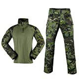 SINAIRSOFT Combat T Shirt and Pant Set Camo Military Tactical Long Sleeve BDU Airsoft Hunting Multicam Tropic