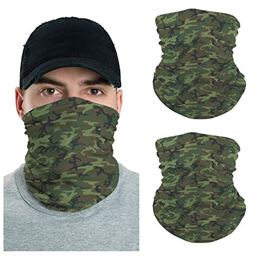 VTH GLOBAL Pack 2 Camo Pattern UV Face Shield Multipurpose Neck Gaiter Camouflage Bandana Balaclava Face Mask for Men Women Summer Sun Dust Protection (ERDL Camo)