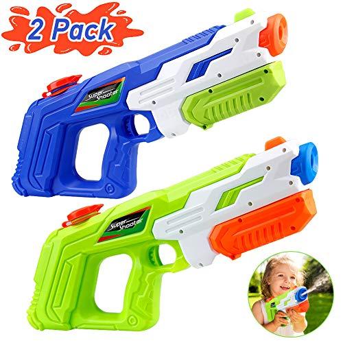 KOROSTRO Wasserpistole Spielzeug Kinder,2 Stück Wasser Blaster Hohe Kapazität Wasserspritzpistolen Wasserblaster(1010ML),Garten und Strand,Badespielzeug Strandspielzeug ab 6 Jahr (Blau/Grün zufällig)