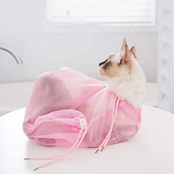 【機能アップ最新版】猫用 ネット みのむし袋 洗濯キャットバッグ 保定袋 メッシュ 猫 おちつく つめきり 爪切り 点眼 耳掃除 シャンプー 脱走防止(PINK)