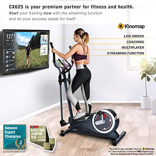 Sportstech CX625 Cross Trainer - German Quality Brand - with Video Events & Multiplayer APP, 24 KG Flywheel Mass + 22 Training Programs with HRC Function + Tablet Holder + Multifunctional Console