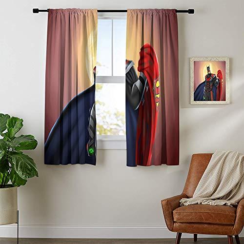 DILITECK Verdunkelungsvorhänge The Dark Knight Room verdunkelter Vorhang Druck Schiebegardinen für Terrassendekoration B 107 x L 114 cm