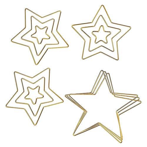 SNOWINSPRING 12 Piezas de Anillos de AtrapasueeOs de Oro Aros de Metal Anillo de Macramé para DecoracióN de Corona, AtrapasueeOs, Macramé para Colgar en la Pared Manualidades