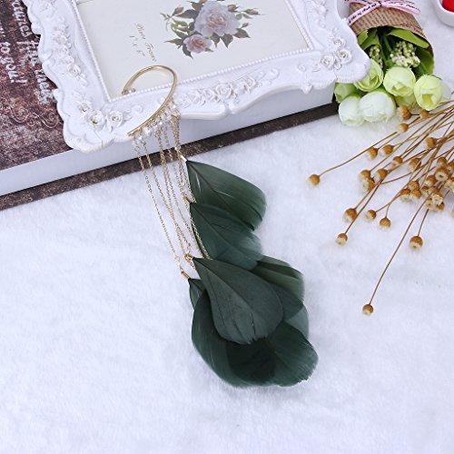 QIANGU Pendiente de Moda, Boho Verde Natural Pluma Cuelga los Pendientes de aro SIN Piercing Cuff Clip de Oreja Mujeres