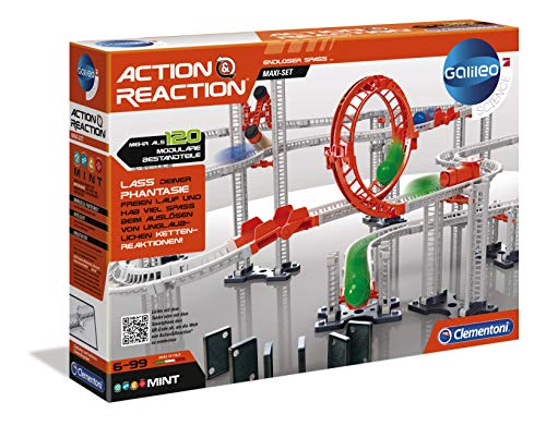 Clementoni 59126 Galileo Science – Action & Reaction Maxi Set, Modellbausatz für eine Kugelbahn, mehrteiliges Motorikspielzeug, Spielzeug für Kinder ab 6 Jahren
