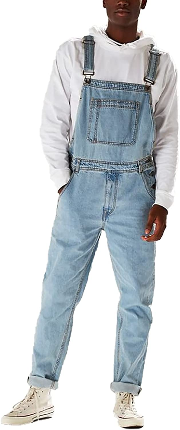 RJFYPX Men's Straight high Sale price Waist Di Overalls Spasm price Solid Fashion Color