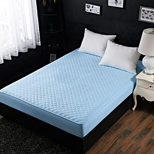 XGguo Protector de colchón - Protector de colchón antialérgico Sábana de Hotel de una Sola Pieza de algodón espesante-Agua Blue_180 * 220cm