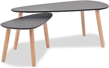 vidaXL Solid Pinewood Coffee Table Set 2 Piece Black Living Room Furniture