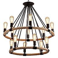 14ライトのシャンデリアブラックメタル麻ロープエディションペンダントランプ天井ライト照明器具