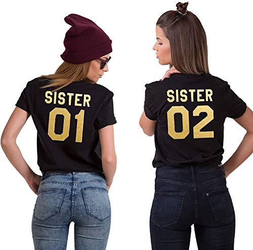 Best Friends BFF Beste Freunde T-Shirt für Zwei Mädchen Damen Tshirt - 1x Sister 01 Gold-Schwarz M