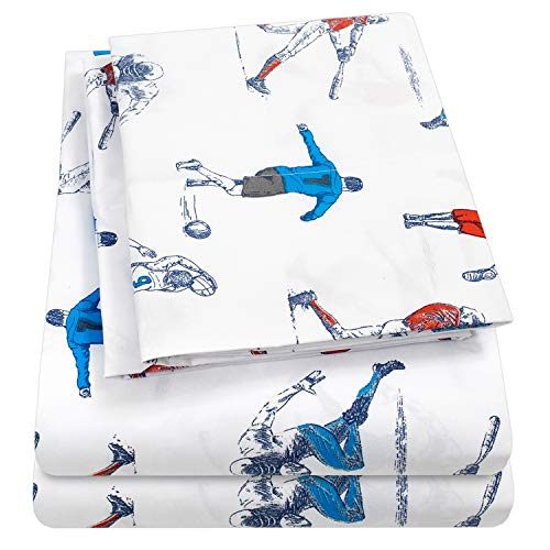 1500 Supreme Kids Bed Sheet Collection - Fun Colorful and Comfortable Boys and Girls Toddler Sheet Sets - Deep Pocket Wrinkle Free Hypoallergenic Soft and Cozy Bedding - Twin, Sports