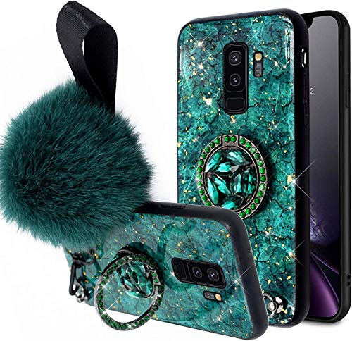 Herbests Compatible para Samsung Galaxy S9 Plus Funda de Silicona Ultrafina con Soporte Anillo Purpurina Diamante Rhinestone + Hairball Estuche Antichoque Anti-Scratch Cover,Verde