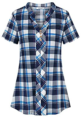 Helloacc Womens Notch V Neck Short Sleeve Plaid Shirts Button Pleated Tunic Tops