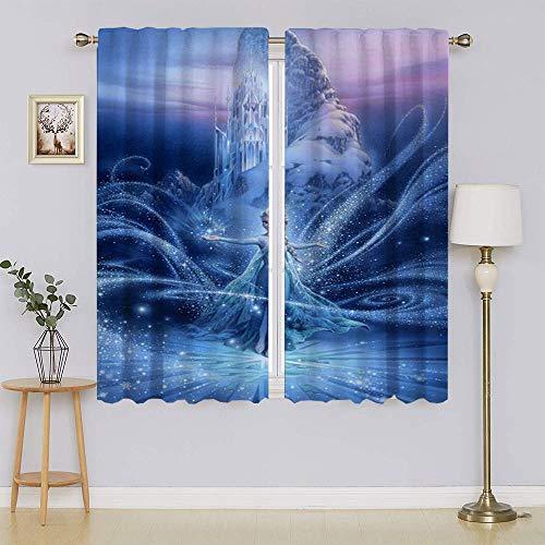 Frozen - Cortina de 2 películas Elsa para sala de estar, con aislamiento térmico, cortina de oscurecimiento de la habitación, eficiente de energía, para dormitorio de 63 x 45 pulgadas
