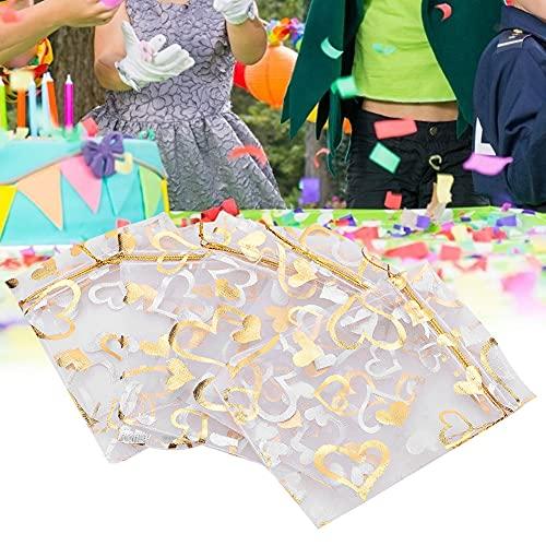 Bicaquu Bolsas livianas para joyería, Bolsas con cordón, 5 Colores para joyería, Dulces, Regalo de Boda(Golden)