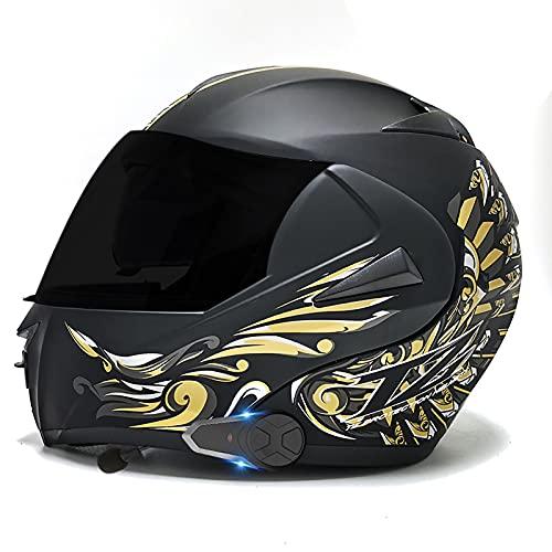 SJAPEX Casco de Moto Modular Bluetooth/FM/Integrado con un Micrófono Incorporado Anti Niebla Visera Doble Adultos Hombres Mujeres Cascos Moto ECE Homologado B,S=55~56cm
