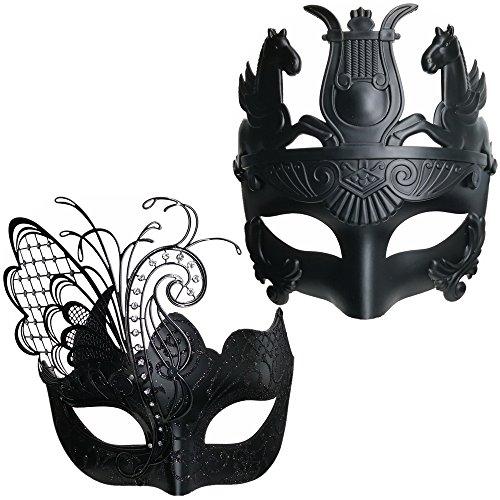CCUFO Black Butterfly Frauen Maske & Römischen Krieger Männer Maske venezianischen Paar Masken für Maskerade / Party / Ball Prom / Karneval / Hochzeit / Wanddekoration