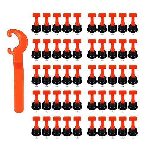 Kit Livellamento per Piastrelle, 50 Pezzi Livellatore Riutilizzabile Piastrelle, PP + Acciaio Inossidabile Piastrellista Livellatore con Una Chiave Speciale per Costruzione Pareti, Pavimenti