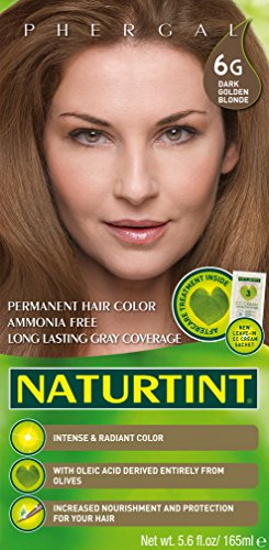 Naturtint Permanent Hair Color 6G Dark Golden Blonde (Pack of 1), Ammonia Free, Vegan, Cruelty Free, up to 100% Gray Coverage, Long Lasting Results