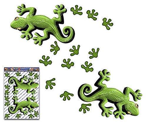 JAS Stickers® GECKO ANIMAL CAR DECAL - Green Lizard + Foot Prints Vinyl Twin Sticker Pack For Laptop Bicycle Jetski Caravan - ST00032GR_3