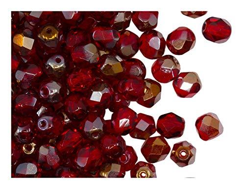 50 Stück Tschechische Facettierten Glasperlen Fire-Polished Rund 6 mm, Ruby Valentinit