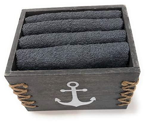 Gilde Gästetücher in Box Motiv Anker 4 Stück dunkelgrau 30x30 cm