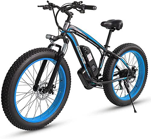 FLHLH Bicicleta eléctrica, 1000W Podery Bicycle Bicycle Boy Bicycle Bicicleta de 26 Pulgadas Grasa Ebike Electric Mountain Bicycle 1 5AH Batería de Litio 21 Velocidad para Adulto, Azul