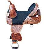 HILASON 15 in Western Horse Saddle Treeless Trail Barrel American Leather