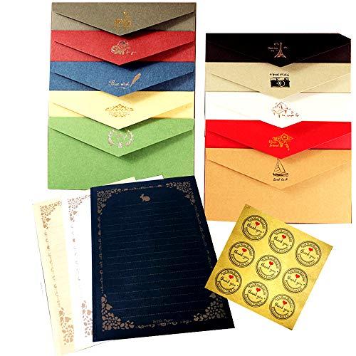 [FUPUSUN] レターセット 封筒 20枚 便箋 24枚 シール 18枚 大容量 セット (セット)
