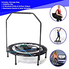 MaXimus PRO Opvouwbare trampoline | Nr. 1 Indoor mini trampoline met houvast voor volwassenen| Beste sportschool voor thuis | GRATIS opbergzakken, spanbandjes, ONLINE & DVD workouts!*