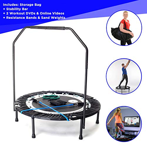 MaXimus PRO Folding Rebounder | Voted #1 Indoor Exercise Mini Trampoline For Adults With Bar | Best...