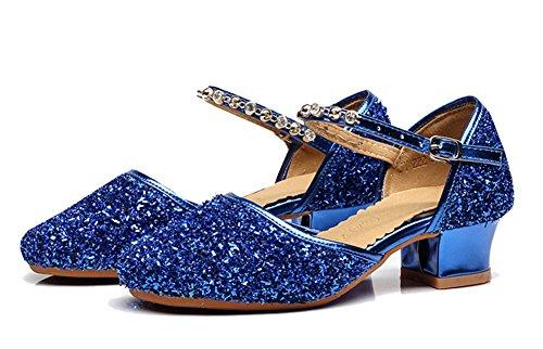 CYSTYLE Neue Prinzessin Schuhe mit Absatz Mädchen Kostüm Ballerina Schuhe - Schleife und Pailletten Karneval Festlich für Kinder (EU 34=Asia 35, Blau)