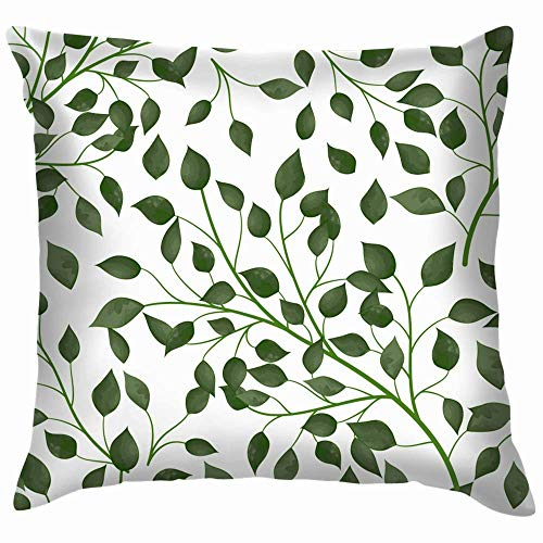 Moily Fayshow Green Leaves Eps Nature Tree Pillow Case Throw Pillow Cover Square Cushion Cover 55X55 Cm