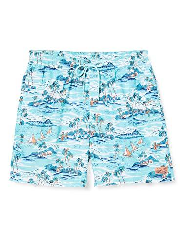 Mens Swim Trunks Hawaiian Tapa Honu Turtle Pattern Quick Dry Beach Board Shorts with Mesh Lining