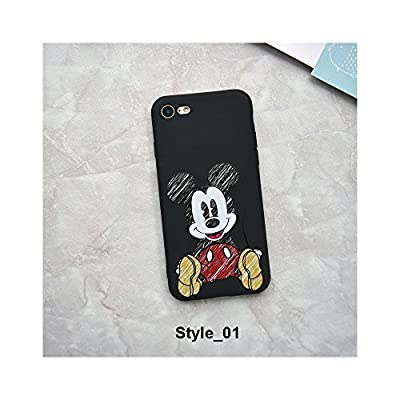 Cute Cartoon Mickey Minnie Mouse Strike Glass Cover Soft TPU Silicone Case for iPhone Case Cover for I Phone 7 or 8 (I Phone 7 or 8 / Style_01)