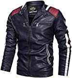 Leather Retail ® Men's Faux Vintage Stand Collar Biker Jacket (Blue, L)