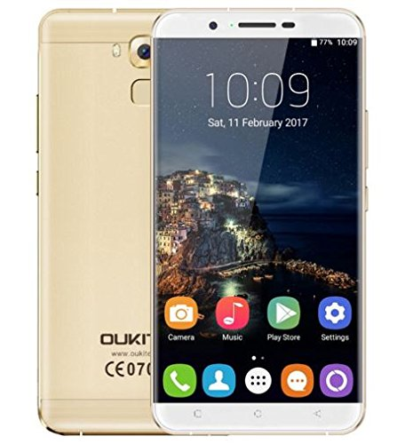((Neu freigegeben)) OUKITEL U16 MAX - 6 Zoll Bildschirm Android 7.0 Smartphone MTK6753 Octa Core 3G RAM 32G ROM 5MP + 13MP Kamera 4000mAh Batterie Metall Körper Fingerabdruck - Gold