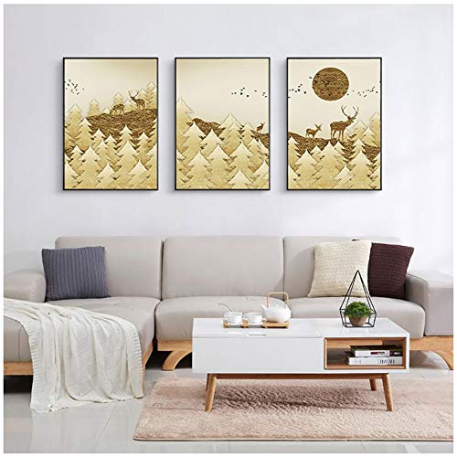 Kunstwerk Schilderij Abstract Mountain Reindeer Poster Golden Bird Sun Wall Art Pictures For Living Roome Modern Decorative 50x60 cm / 19.7