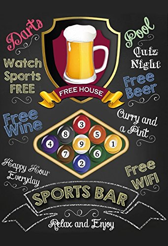 Sports Bar: Snooker, Pool, Billiard, Pub Sign, Kneipe Schild, barschild, schwarz blechschild