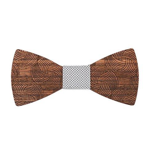 Mr.Van Hölz Fliege Herren, Handgearbeitete Natürliche Klassische Mode Hölzerne Krawatte Fliege für Hochzeiten, Aufführungen, Abschlussball, Partei und sogar tägliche Gebrauch (Silber)