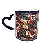 Taza mágica bohemia sensible al calor que cambia de color en el cielo Tazas de café artísticas divertidas Regalos personalizados para amantes de la familia Amigos-J3L