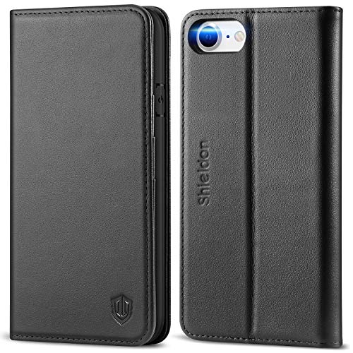 SHIELDON iPhone SE 2020 Case, iPhone 8 Wallet Case Genuine Leather [Card Holder] Magnetic Closure Stand Flip Book Cover Shockproof Protection Case Compatible with iPhone SE2/8/7 (4.7') - Black