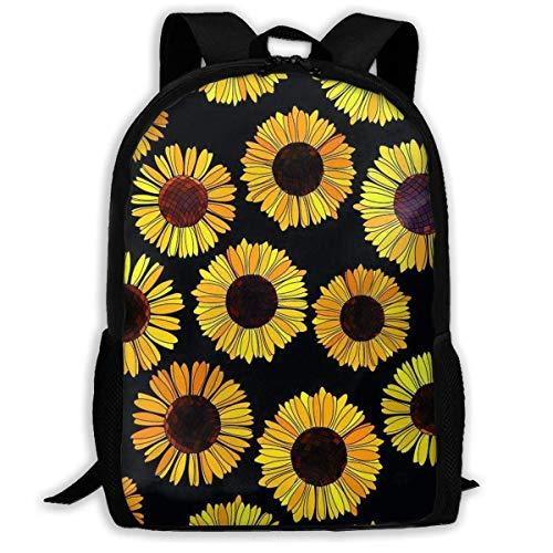 TTmom Schulrucksack,Schüler Bag,Rucksack Damen Herren Backpack for Adults Black Sunflower Shoulders Bag