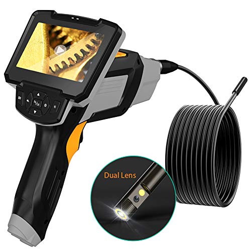 4.5inch Screen Industrial Endoscope, 1080P FHD Image, Front-View & Side-View 8mm Dia Dual Lens Borescope, Inspection Camera with 6 LED Lights/Waterproof Probe/32GB Card/16.4FT Cable/2600mAh Battery