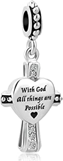 Religious Bible Christian Cross Charms Beads Fits Snake Chain Bracelets